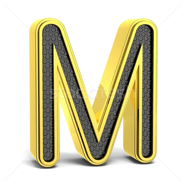 Dourado preto alfabeto letra m 3D 3d render Foto stock © djmilic