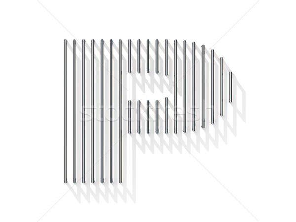 Silver, steel wire font. Letter P Stock photo © djmilic