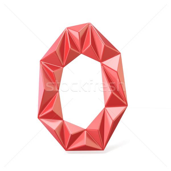 Red modern triangular font letter O. 3D Stock photo © djmilic