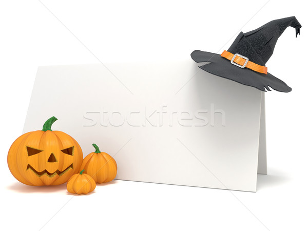 Halloween blank card, with witch hat and Jack O Lantern pumpkins Stock photo © djmilic