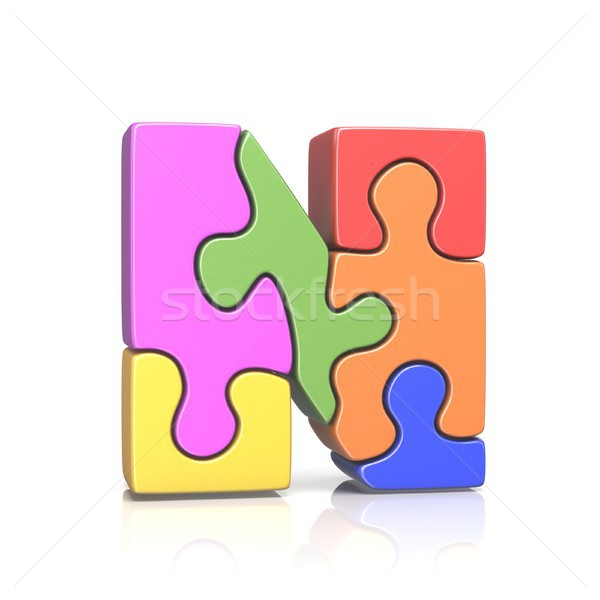 Puzzle jigsaw letter N 3D Stock photo © djmilic