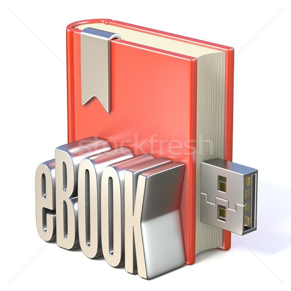 eBook icon metal eBOOK red book USB 3D Stock photo © djmilic