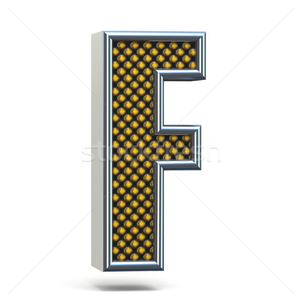 Chrome metal orange dotted font Letter F 3D Stock photo © djmilic