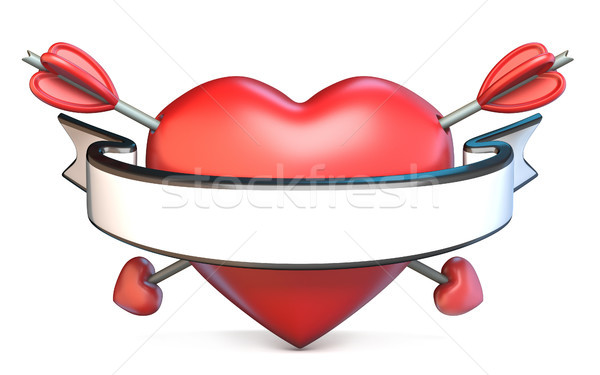 Heart pierced by arrow and blank ribbon Valentine's concept 3D Stock photo © djmilic