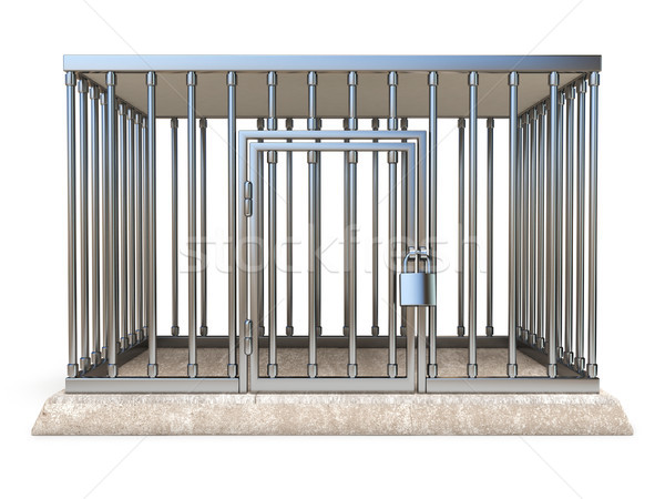 Metal cage with lock front view 3D render illustration Stock photo © djmilic