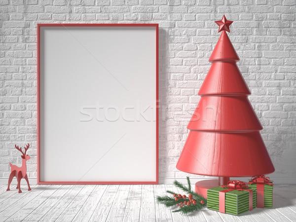 Сток-фото: вверх · фоторамка · рождественская · елка · украшение · подарки · 3d · визуализации