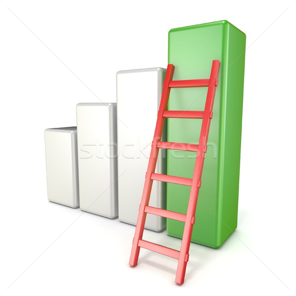 Statistic graph with ladder. Success concept. 3D Stock photo © djmilic