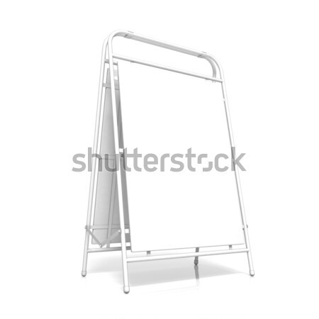 Metal advertising stand, with copy space board. Front view. 3D Stock photo © djmilic