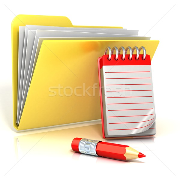 Folder icon with red pencil and notepad. 3D Stock photo © djmilic