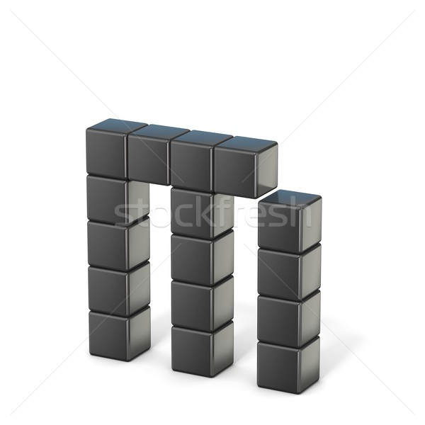 8 bit font. Lowercase letter M. 3D Stock photo © djmilic