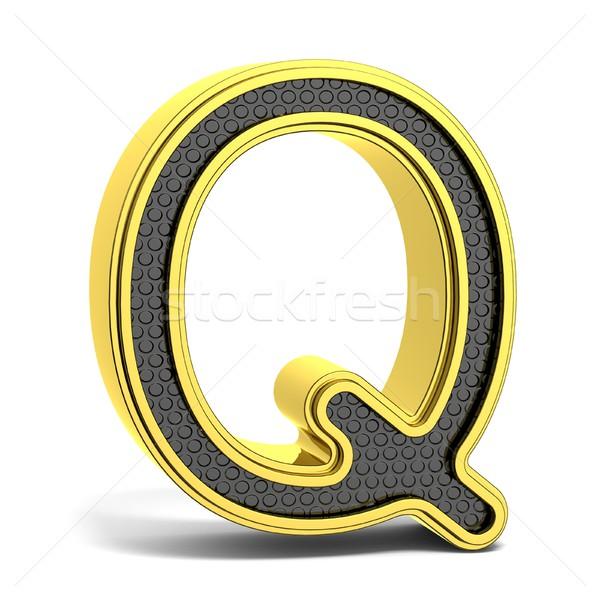 Golden and black round alphabet. Letter Q. 3D Stock photo © djmilic