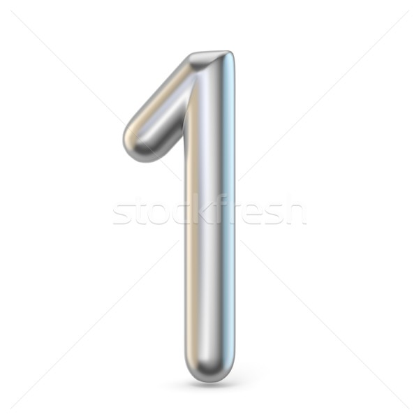 Metal silver font. Number ONE 1 3D Stock photo © djmilic