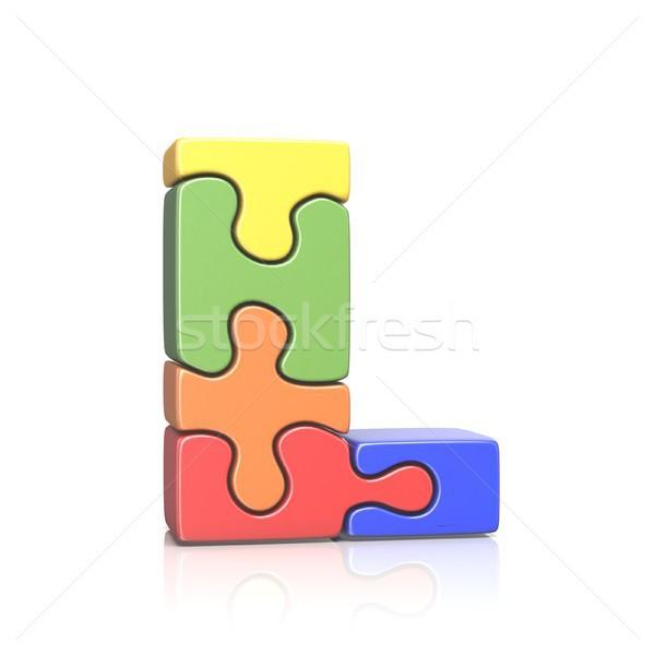 Puzzel letter l 3D 3d render illustratie Stockfoto © djmilic