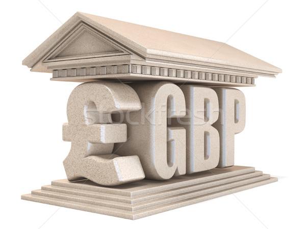 Funt waluta podpisania świątyni 3D 3d Zdjęcia stock © djmilic