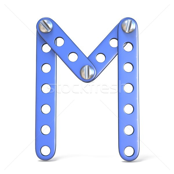 Alphabet made of blue metal constructor toy Letter M 3D Stock photo © djmilic