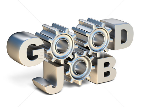GOOD JOB silver text with gear wheels 3D Stock photo © djmilic