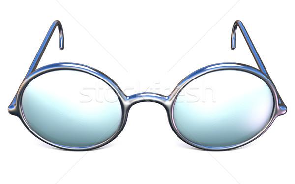 Retro silver glasses front view 3D Stock photo © djmilic
