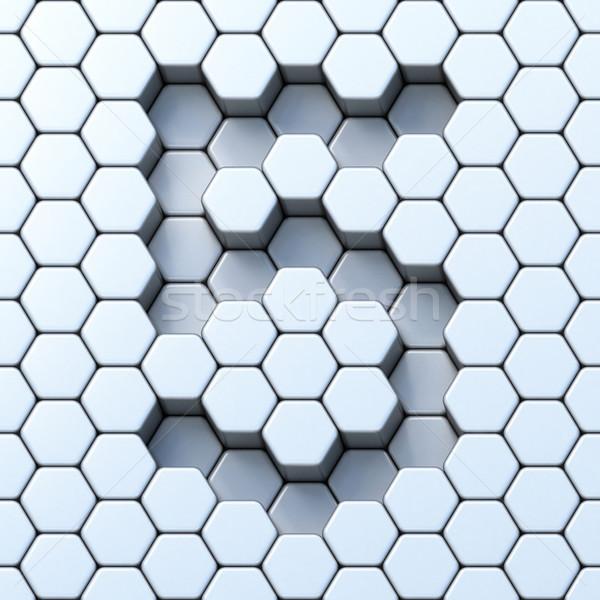 Hexagonal grid number FIVE 5 3D Stock photo © djmilic