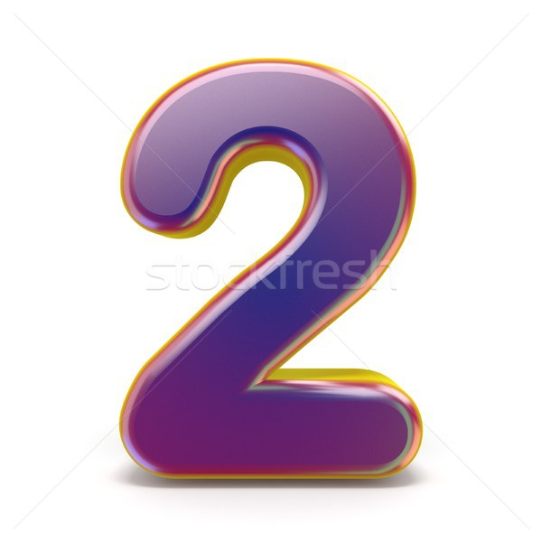 Number TWO 2 purple font yellow outlined 3D Stock photo © djmilic