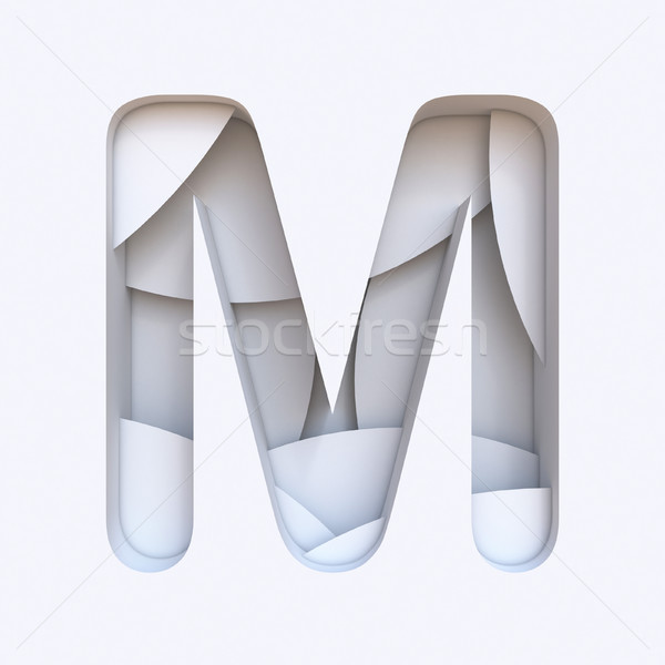 White abstract layers font Letter M 3D Stock photo © djmilic