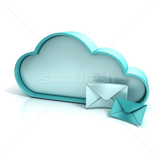 Stock fotó: Felhő · levél · 3D · számítógép · ikon · izolált · iroda