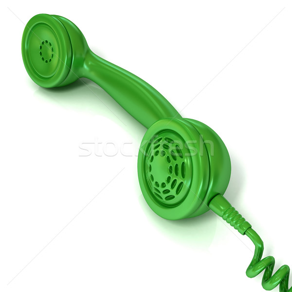 Green telephone handset, retro illustration for design Stock photo © djmilic
