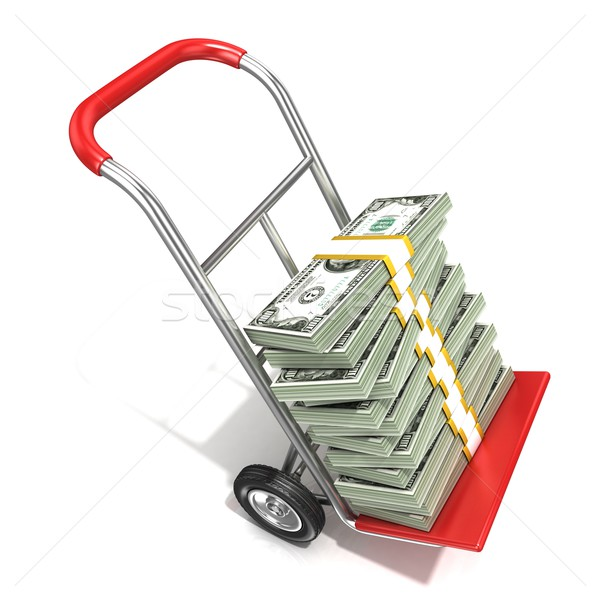 Hand truck with stacks of hundreds dollars isolated on white bac Stock photo © djmilic