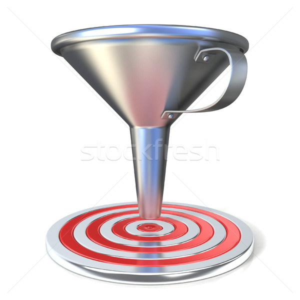 Empty steel funnel and red target Stock photo © djmilic