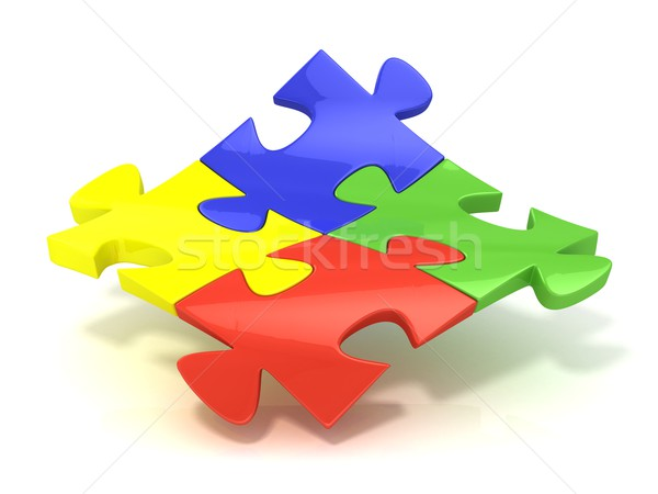 Four colorful jigsaw puzzle pieces banded Stock photo © djmilic