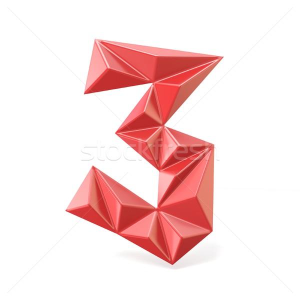 Red modern triangular font digit THREE 3 3D Stock photo © djmilic