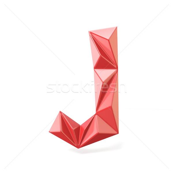 Red modern triangular font letter J. 3D Stock photo © djmilic