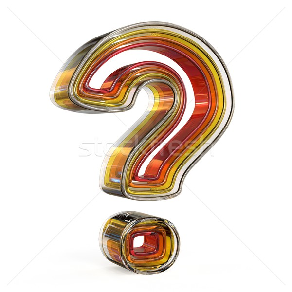 Stock photo: Plastic layered transparent question mark. 3D