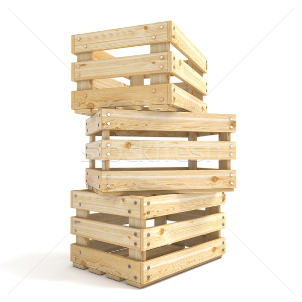 Three empty wooden crate Side view 3D Stock photo © djmilic