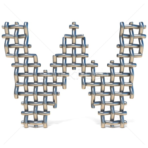 Metal wire mesh font LETTER W 3D Stock photo © djmilic