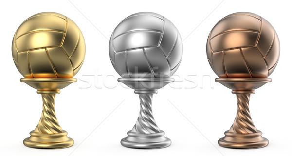 Ouro prata bronze troféu copo voleibol Foto stock © djmilic