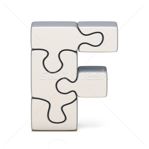 White puzzle jigsaw letter F 3D Stock photo © djmilic