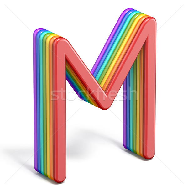 Rainbow police lettre m 3D illustration Photo stock © djmilic