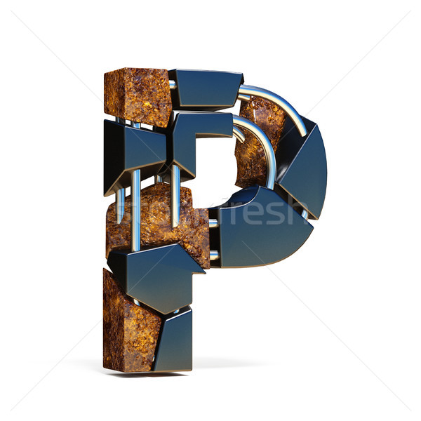 Black brown fracture font LETTER P 3D Stock photo © djmilic