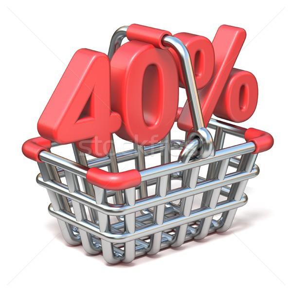 Fém bevásárlókosár 40 százalék felirat 3D Stock fotó © djmilic