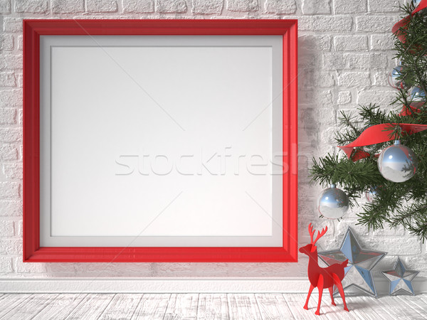 Mock up poster with red reindeer, Christmas tree and stars. 3D Stock photo © djmilic