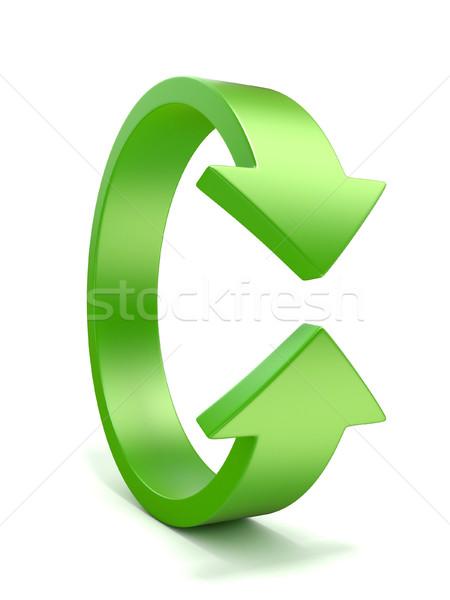 Yeşil dikey rotasyon ok işareti 3D 3d illustration Stok fotoğraf © djmilic