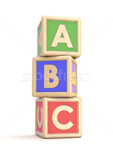 Letter blocks A, B and C vertical arranged. 3D Stock photo © djmilic