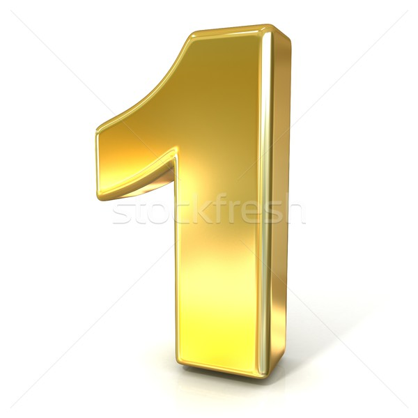 Numerical digits collection, 1 - ONE. 3D golden sign Stock photo © djmilic