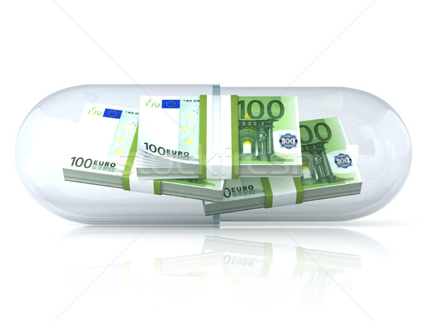 Stock photo: Transparent pill capsule, with euros stack inside. Isolated on w