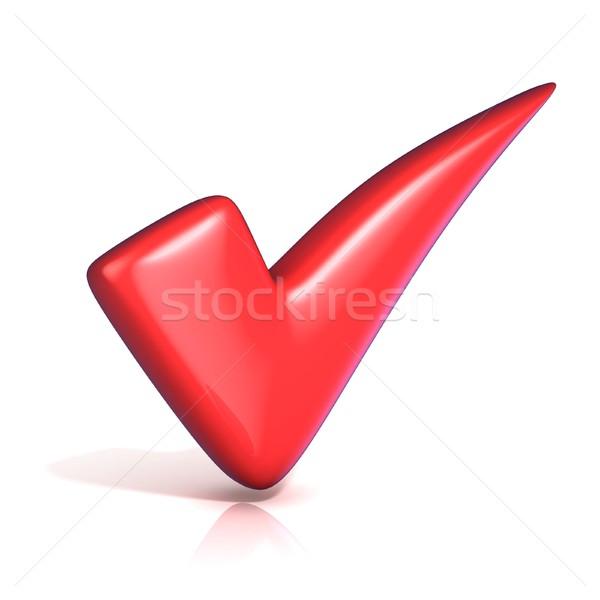 Zdjęcia stock: Czerwony · skorygowania · sprawdzić · ocena · odizolowany · biały