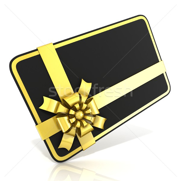 Black blank gift card, with golden ribbon. 3D Stock photo © djmilic