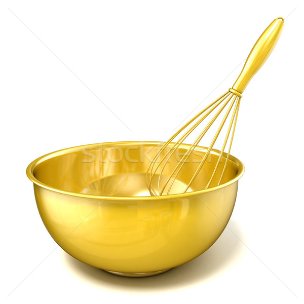 Golden bowl with a wire whisk. 3D Stock photo © djmilic