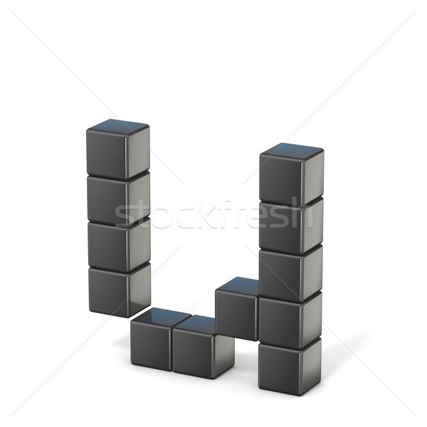 8 bit font. Lowercase letter U. 3D Stock photo © djmilic