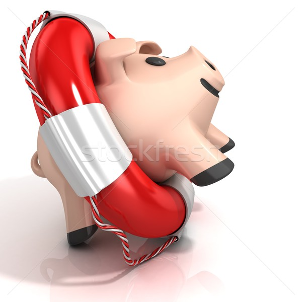 Piggy bank with lifebuoy Stock photo © djmilic