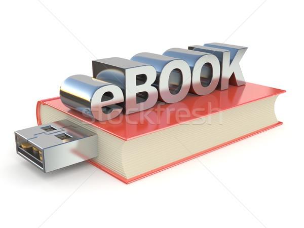 電子ブック 金属 赤 図書 3D 3dのレンダリング ストックフォト © djmilic